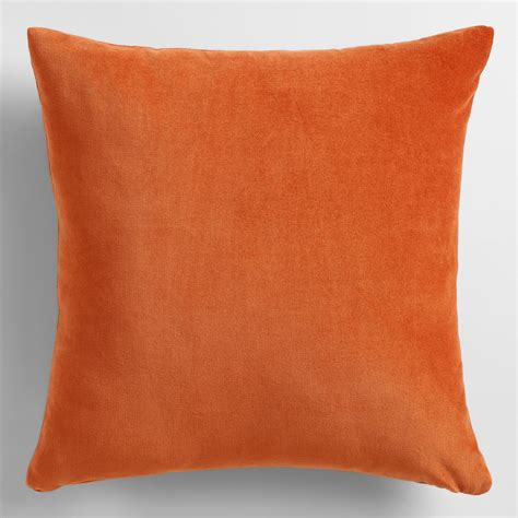 Accent Pillows Rooibos Orange Velvet Throw Pillow World Market