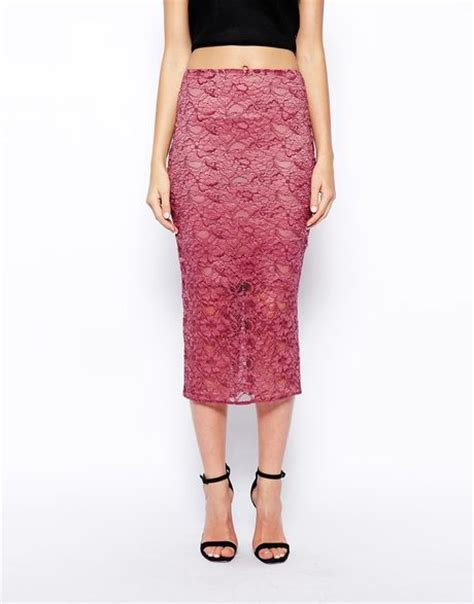 asos pencil skirt in lace in purple plum lyst