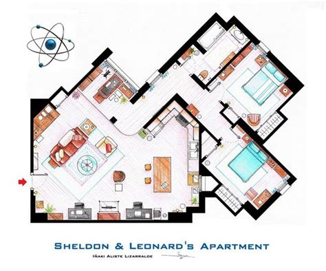 big bang theory floor plan famous television show home floor plans hiconsumption