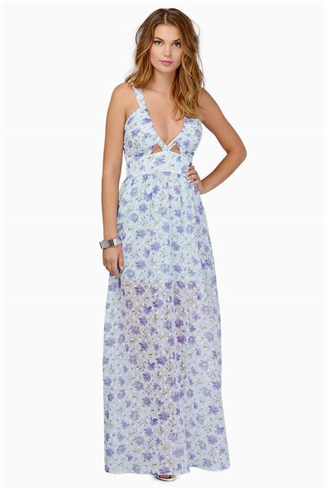 Trendy Light Blue Floral Maxi Dress Floral Print Dress