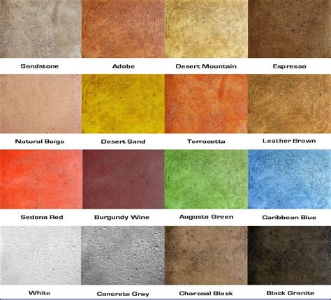 concrete stain color charts