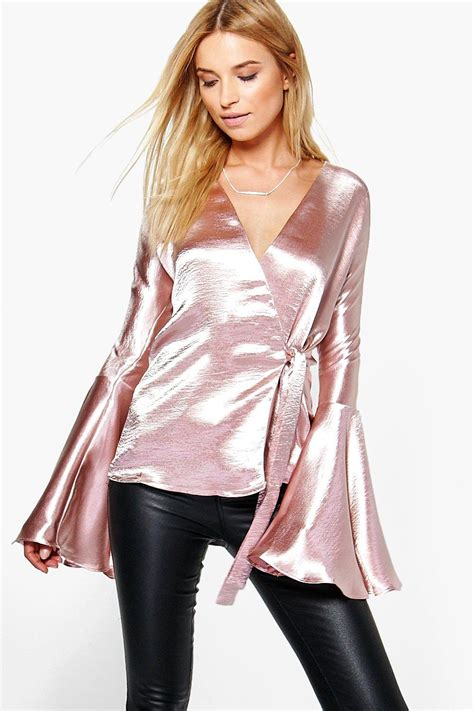 Satin Wrap Top Quartz satin wrap flute sleeve blouse at boohoo