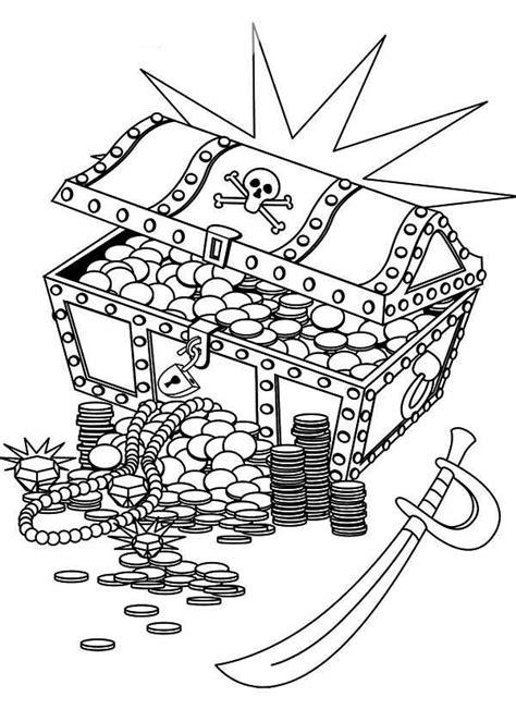 coloring page treasure chest desenho de ba 250 de joias e espada pirata para colorir