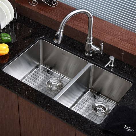 double sinks for kitchen kraus kitchen sink 32 75 quot x 19 quot double bowl undermount