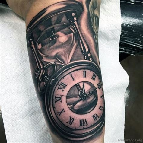 tattoos on bicep 75 clock tattoos on arm