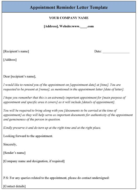 appointment reminder letter template sle templates