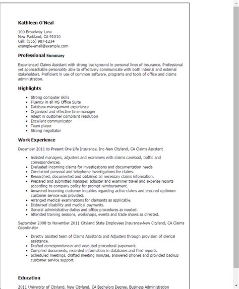 Claims Assistant Sle Resume professional claims assistant templates to showcase your talent myperfectresume