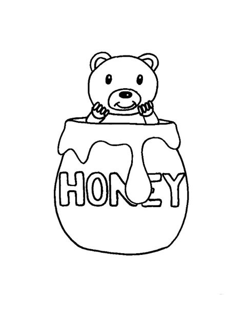 honey bear coloring pages honey jar drawing www pixshark com images galleries