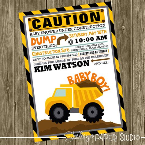 Construction Baby Shower Invitations by Construction Baby Shower Invite
