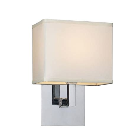 plc lighting 1 light polished chrome sconce with white
