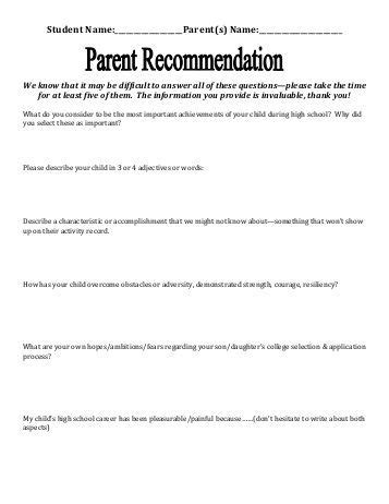 Parent Letter High School senior brag sheet pdf summit schools
