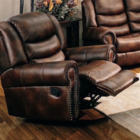 leather reclining sofa with nailhead trim aiden traditional rocker recliner with nailhead trim