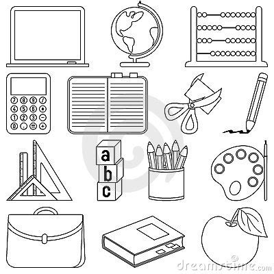 coloring page school things coloring school icons royalty free stock photos image