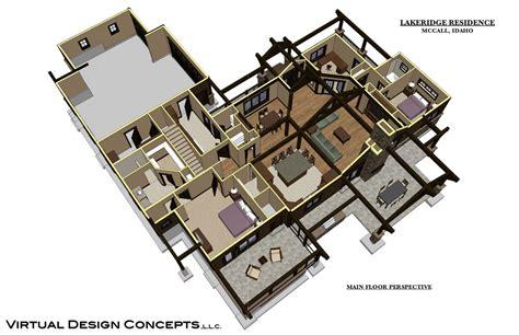 floor plan and perspective lakeridge custom home mccall idaho virtual design