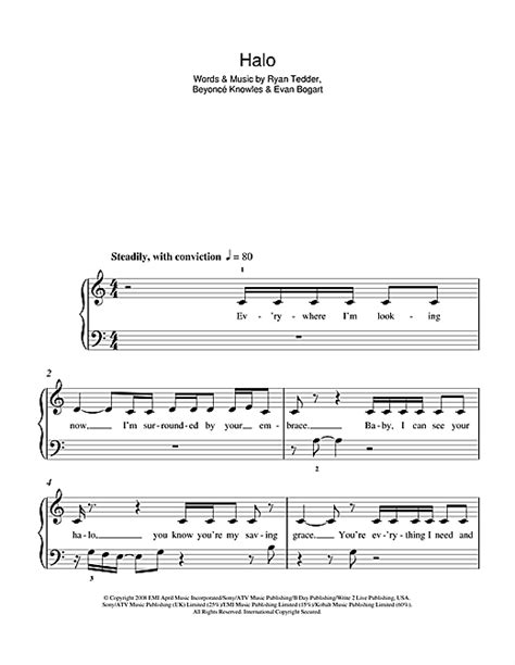 printable halo lyrics halo sheet music by beyonc 233 5 finger piano 103206