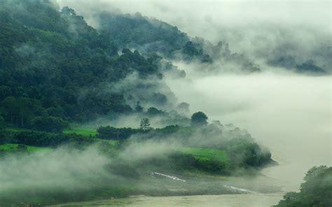 nature mist landscape river mountain forest india