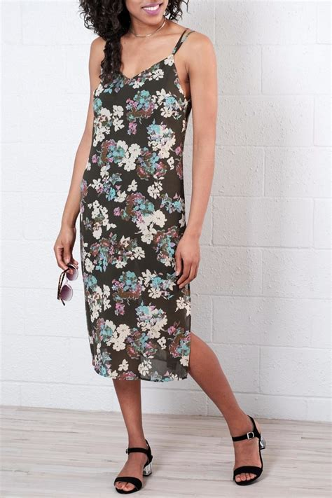 Import Low Back Green Flower Bodycon Dress Midi Hijau Pantai Bali Midi everly floral midi dress from vancouver by 8th shoptiques