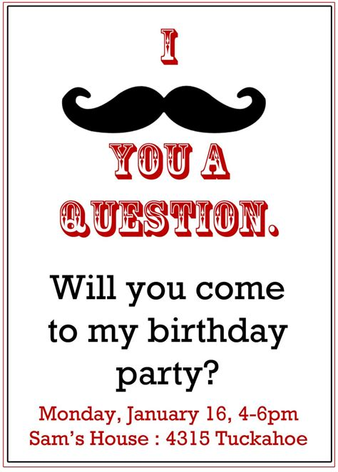 mustache birthday card template mustache invitation boy s birthday invitation