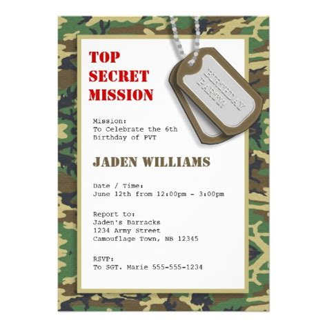 Camouflage Cards Camouflage Card Templates Postage Invitations Photocards More Camo Birthday Card Template