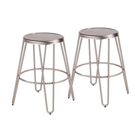 Brushed Stainless Steel Counter Stools by Lumisource Avery 24 In Brushed Stainless Steel Counter
