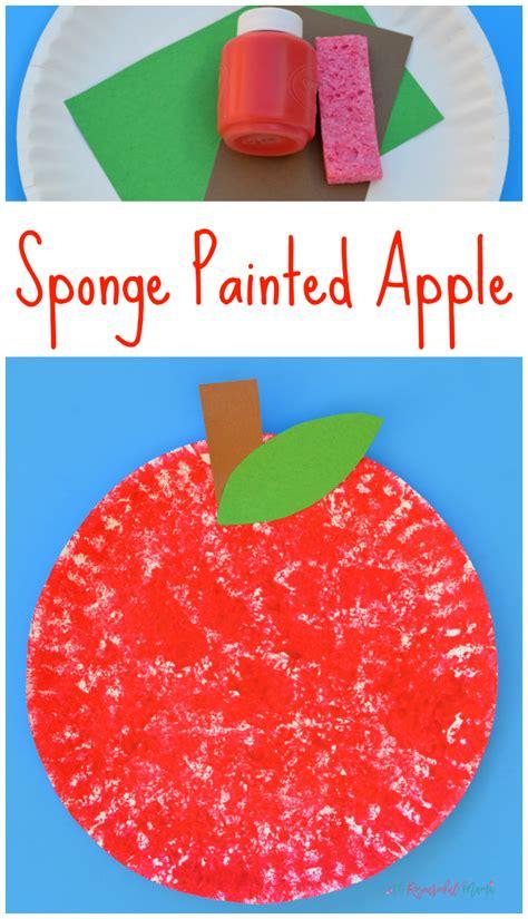 apple pattern for kindergarten sponge painted apple craft for kids sponge painting