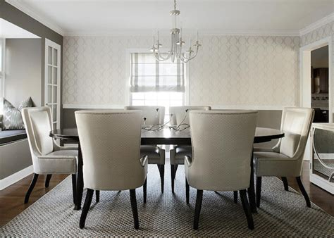 Wolf Trims Suites white and gray dining room contemporary dining room