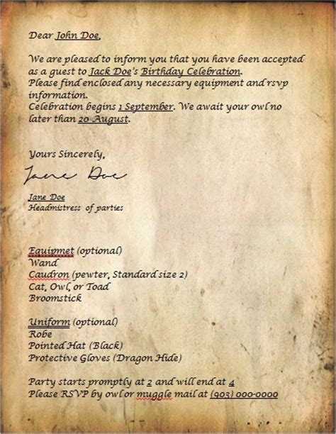 Acceptance Letter For Equipment 8 Best Images About Hogwarts Acceptance Letter On