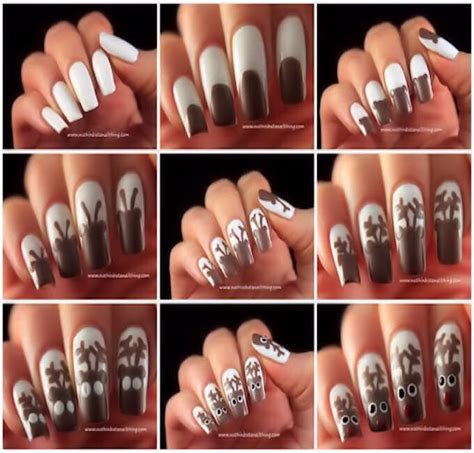 easy christmas nail art without tools step by step reindeer nail art pictures photos and