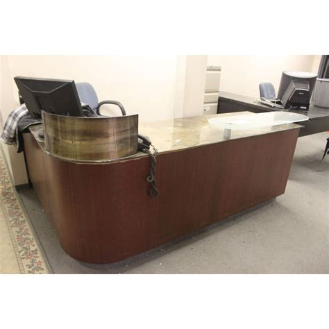 glass top l shaped desk glass top l shape reception desk