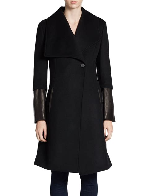 leather swing coat elie tahari carlotta leather sleeve swing coat in black lyst
