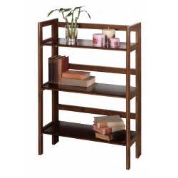 Folding Stackable Bookshelves Winsome Wood 3 Tier Folding Stackable Shelf Wide