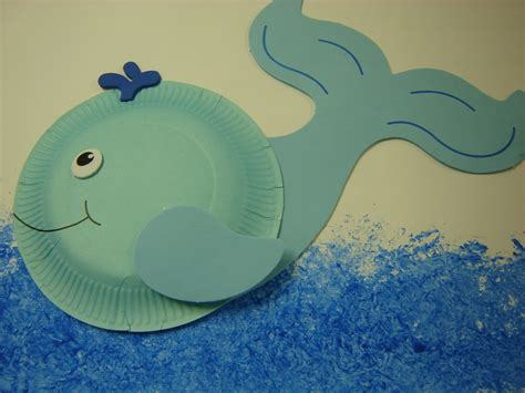 Paper Plate Whale Craft - whales storytime