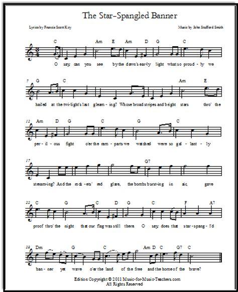 printable lyrics to the national anthem usa star spangled banner free sheet music lyrics for all
