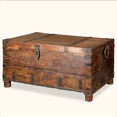antique style rustic reclaimed wood coffee table storage
