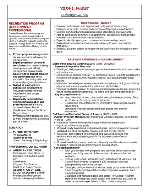 Resume Recreational Activities Recreation Manager Resume Linked In