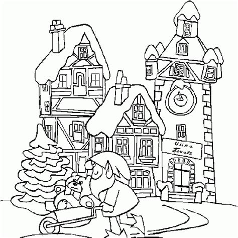 christmas coloring snowy christmas village toy