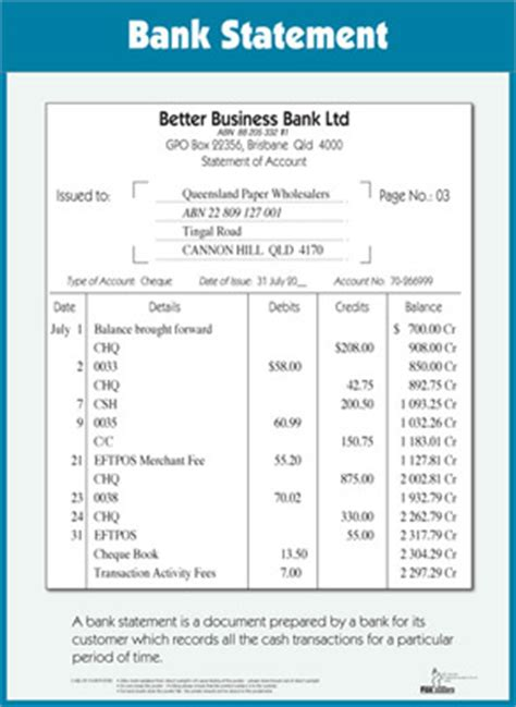 Bank Statement Of Standing foxstone education accounting wallchart