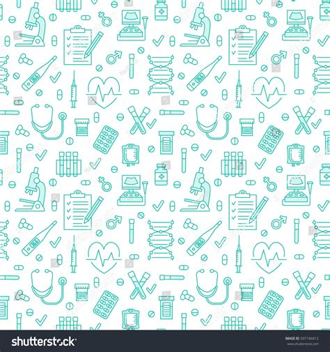 cute medical pattern medical blue seamless pattern clinic vector vectores en