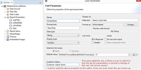 birt javascript format date xml using eclipse gui to birt parameters how do i add a