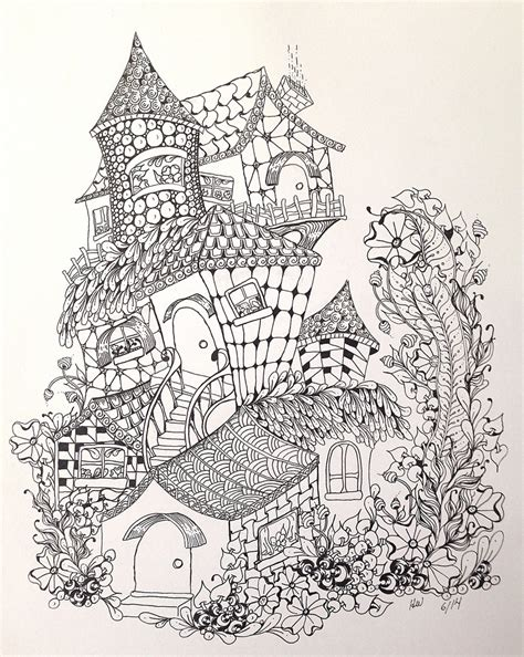 house pattern coloring page zentangle inspired fairy houses holly flickr