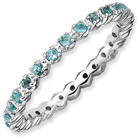 Blue Topaz Memo 99 2ct sterling silver stackable 1 2 ct blue topaz eternity ring