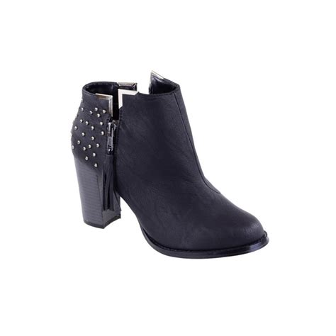 black leather ankle boots with heel black studded leather ankle boots parisia fashion