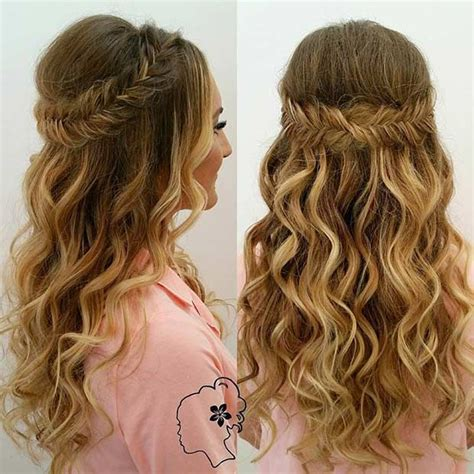 prom hairstyles down curly braid 31 half up half down hairstyles for bridesmaids