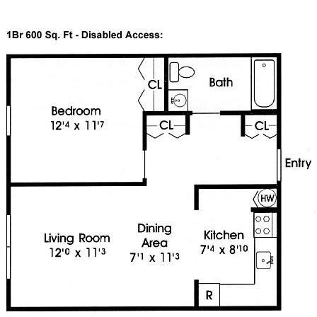 Home Plan Design 600 Square Feet | disabled access floor plans 600 sq ft home floor