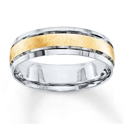 jared s wedding band 10k two tone gold 6mm