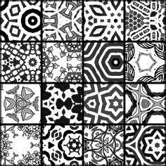 Block Folding Black White tea bag tiles tea bag tiles shades of