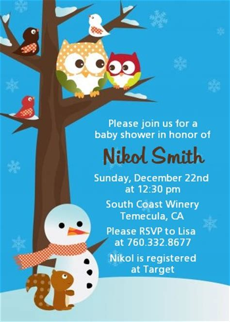 Winter Owl Baby Shower Invitations by Owl Winter Theme Or Baby Shower Invitations