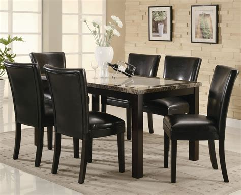 Dining Room Table Sets by Coaster 102260 102262 Brown Wood And Marble Dining
