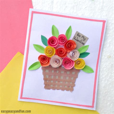 paper flowers craft for diy rolled paper roses valentines day or s day card