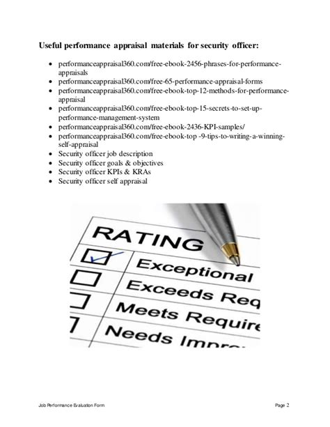 Security Officer Performance Appraisal Officer Performance Evaluation Template